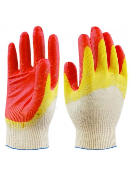 Перчатки хлопчатобумажные (облив латекс) оранжевые