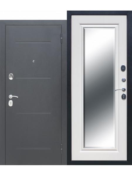 """Дверь стальная с зеркалом """"FERRONI"""" ГАРДА Серебро Зеркало Фацет 7,5 см"""