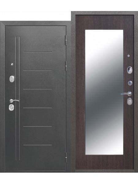"""Дверь стальная с зеркалом """"FERRONI"""" ТРОЯ Серебро Макси Зеркало 10 см"""