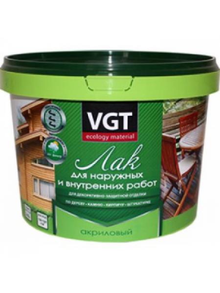Лак ВГТ акриловый для наружных и внутренних работ глянец 0,9 кг