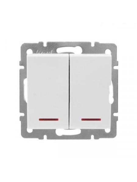 Выключатель 2 клав. бел. с подсв. Lezard модульный