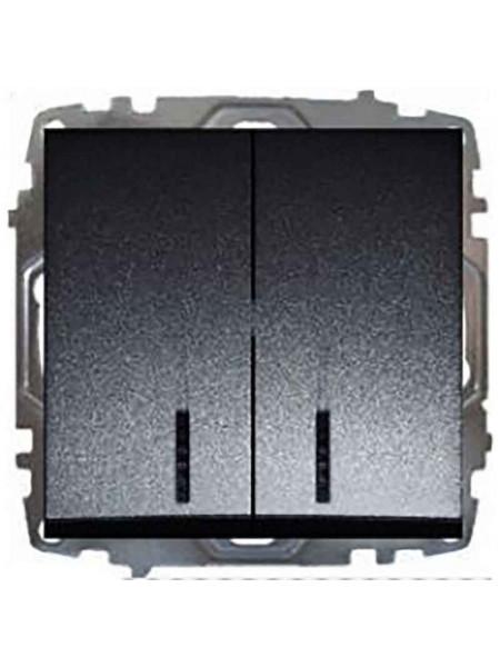 Выключатель 2 клав. чёрн. с подсв. Lezard модульный