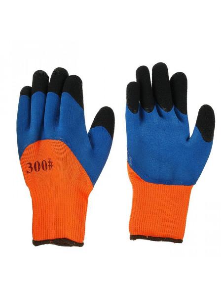 Перчатки Корея синтетика оранжево-синие