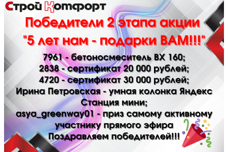 "Победители 2 этапа акции ""5 лет нам - подарки ВАМ!!!"""